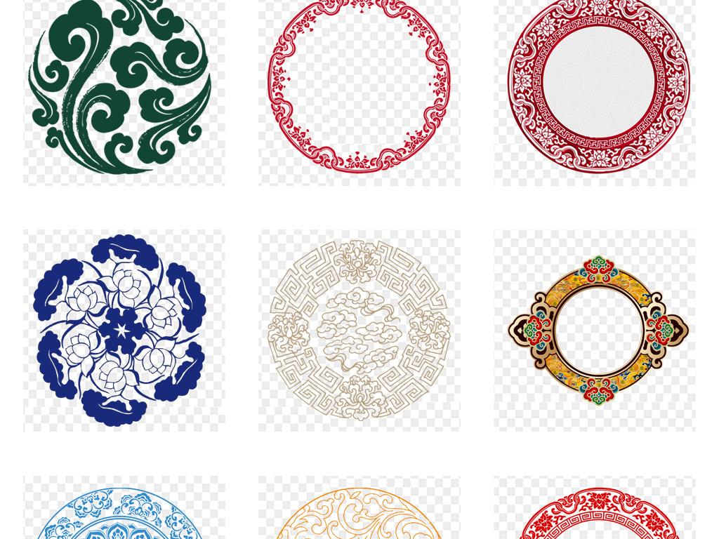 中国风水墨古典中式圆形圆环圆圈边框花纹免扣素材