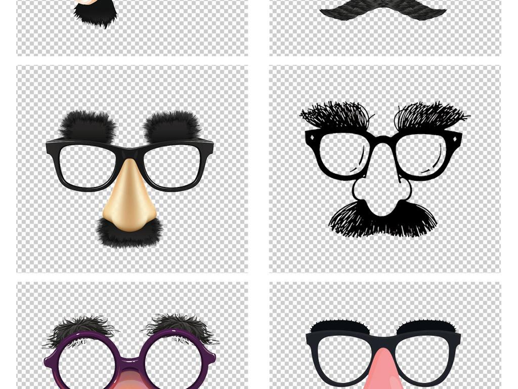 卡通手绘戴黑框眼镜长胡子的大叔png素材