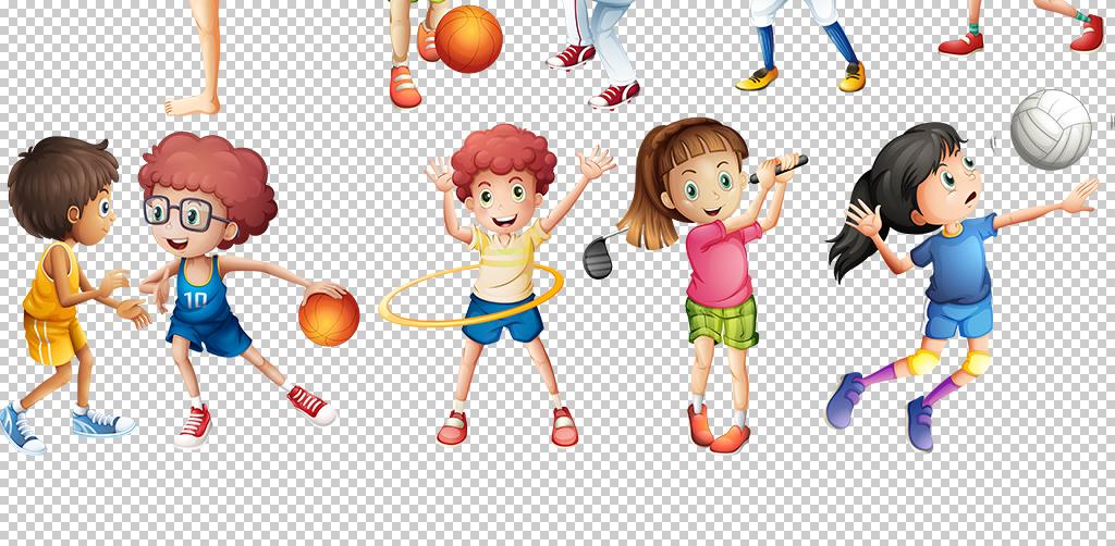 儿童卡通炫彩奔跑人物剪影马拉松运动png图片