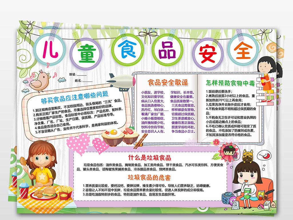 word/ps食品安全小报校园饮食健康安全手抄报电子小报