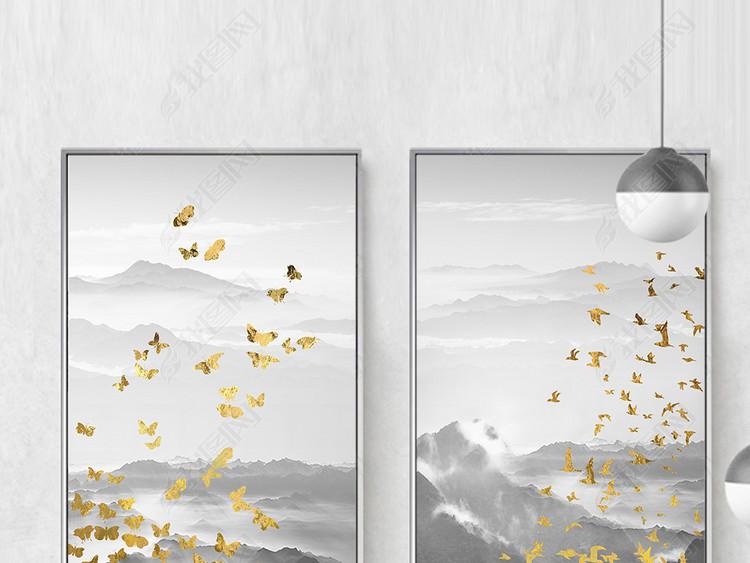 新中式山水抽象金色飞鸟蝴蝶玄关装饰画