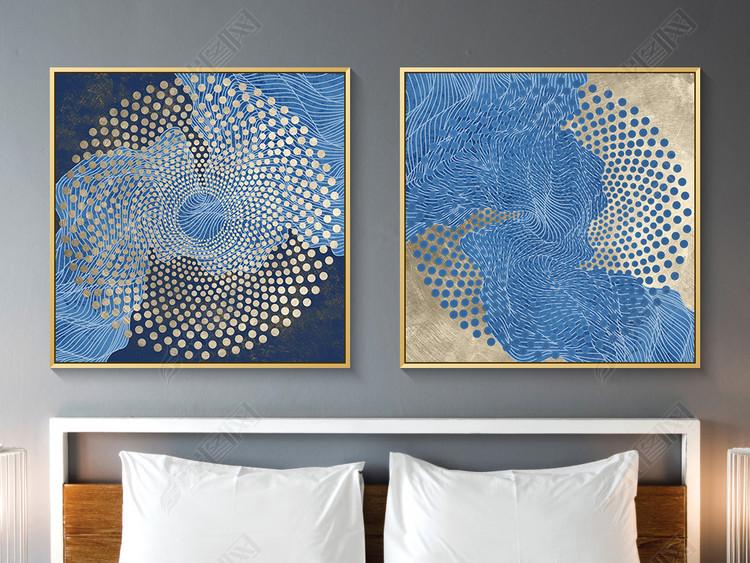 新中式抽象线条金色禅意装饰画金箔画晶瓷画