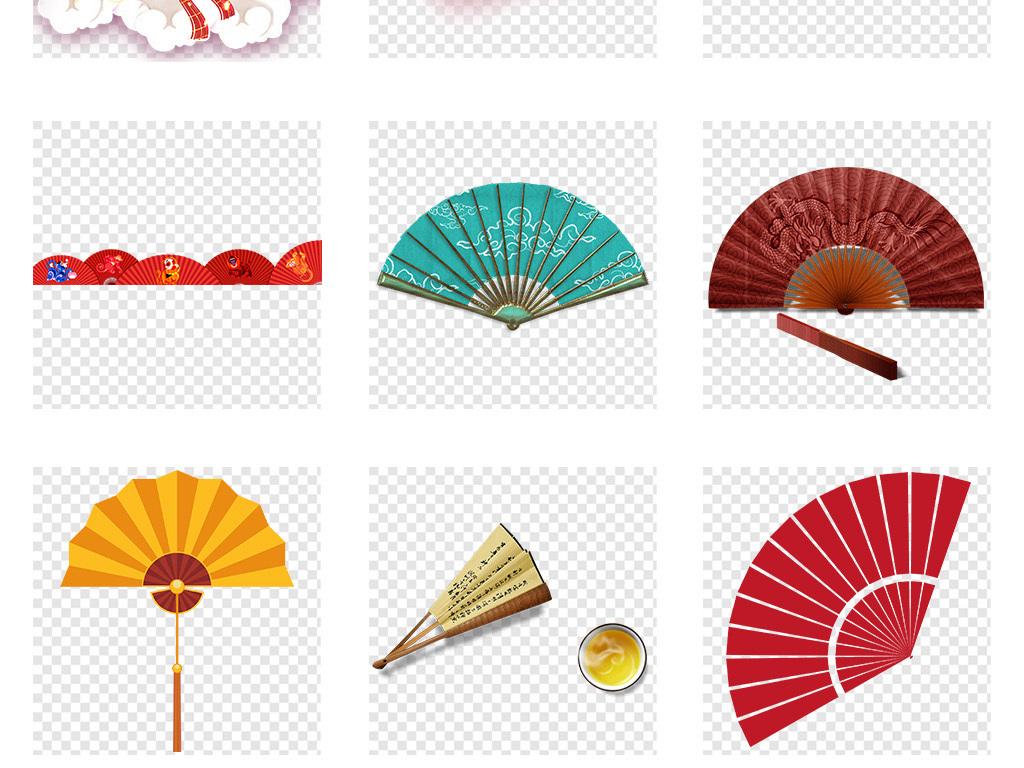 中国风古典扇子png透明背景海报免抠素材