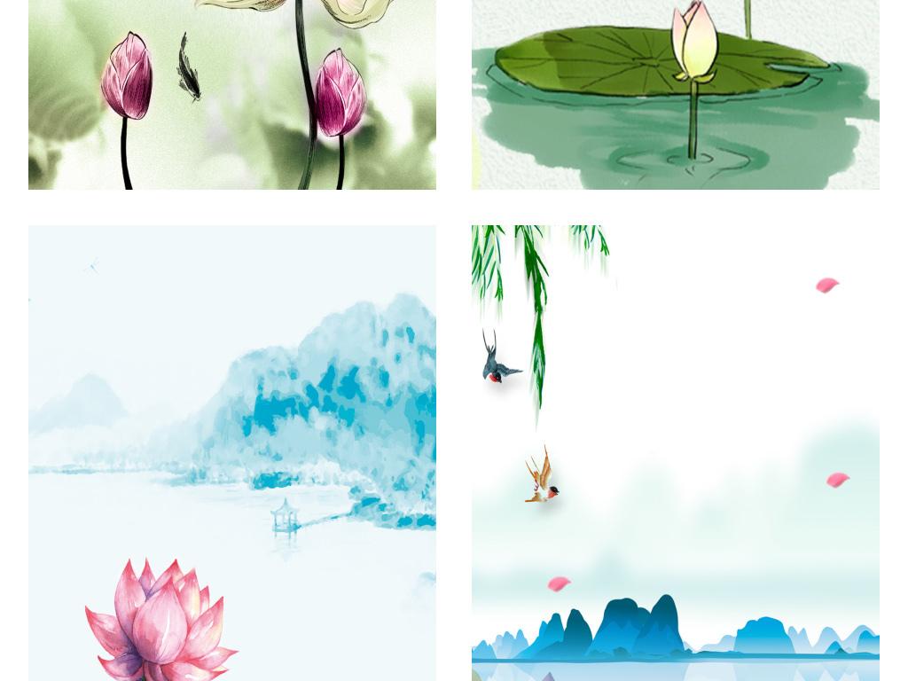 手绘小清新荷花花纹展板海报背景图图片设计素材_高清