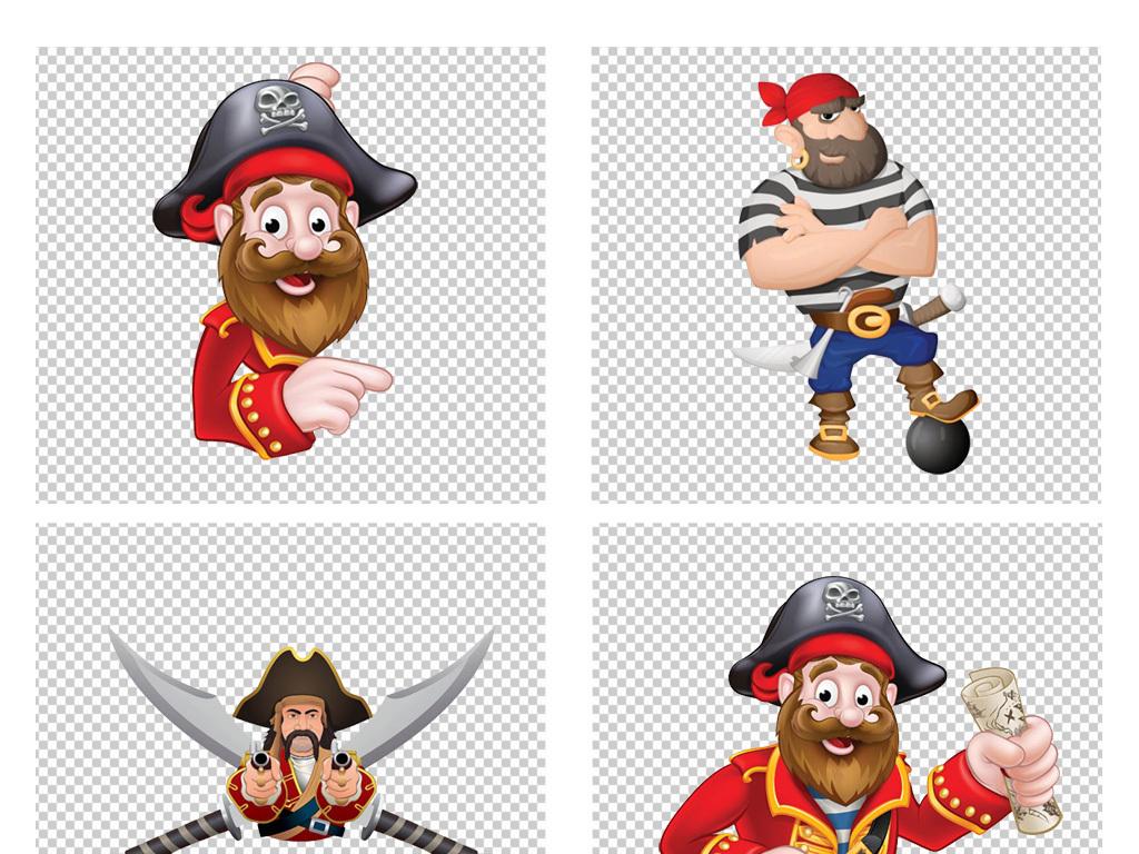 卡通手绘海盗头领海盗头骨骷髅头png素材