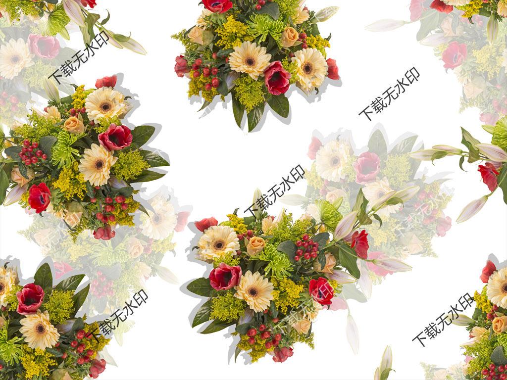 数码印花服装面料花型设计手绘花卉图案