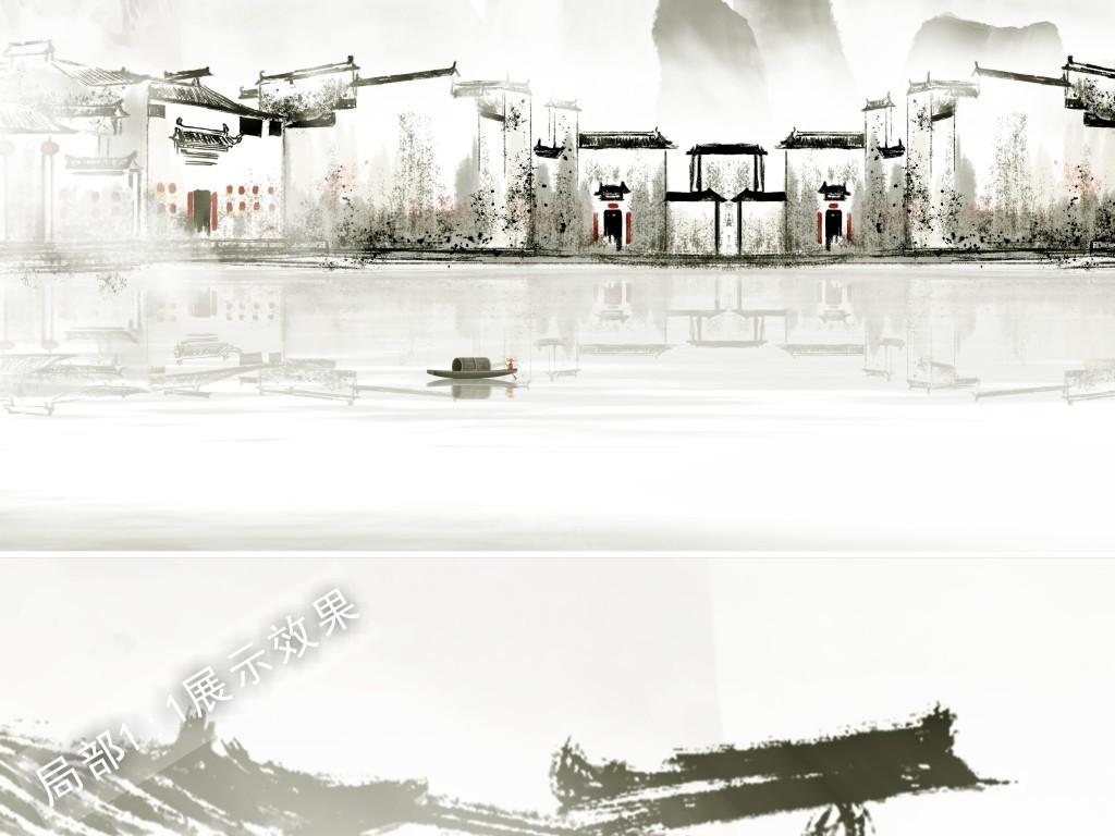 江南水墨山水手绘徽派建筑金箔飞鸟新中式客厅背景墙