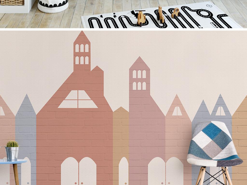 美式砖纹文艺手绘房屋背景墙