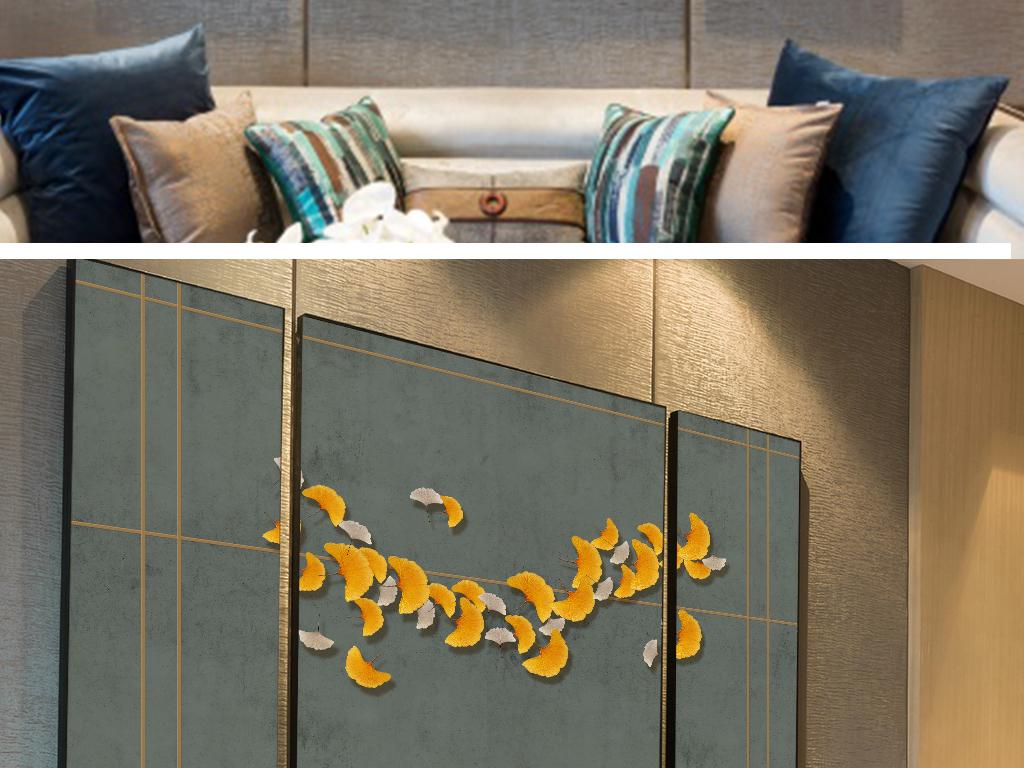 新中式写意银杏3d立体造型做旧效果背景墙图片设计素材 高清模板下