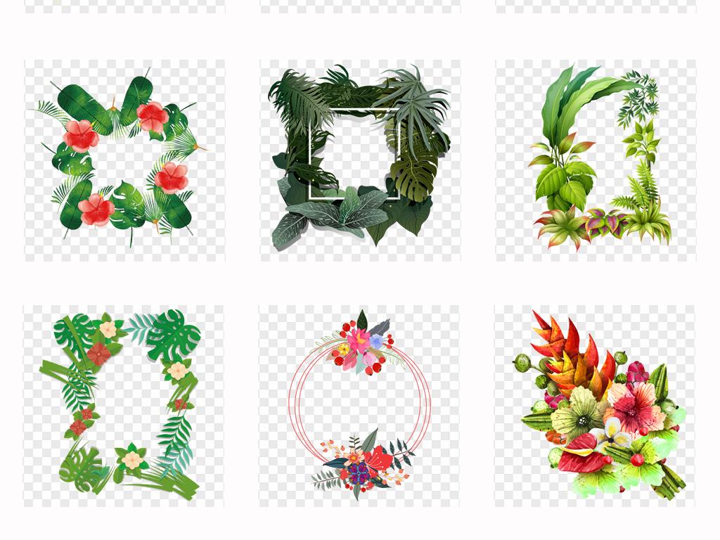 手绘森系热带植物树叶芭蕉叶绿色叶子边框png素材