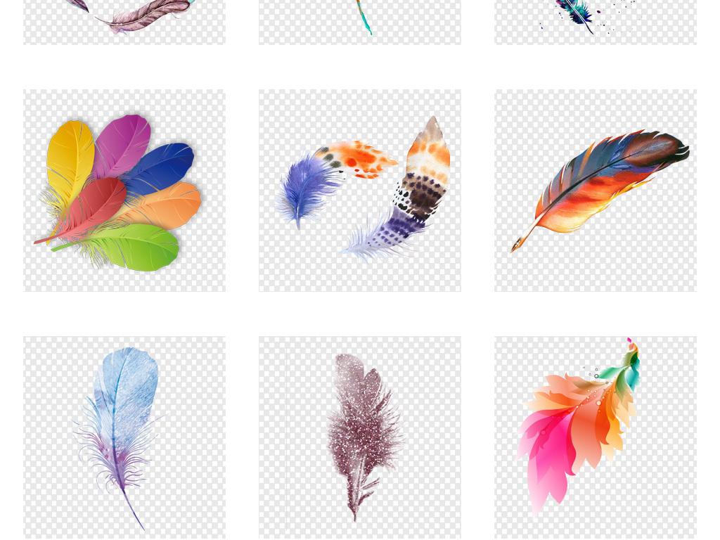 唯美手绘水彩羽毛精致图案png免扣素材