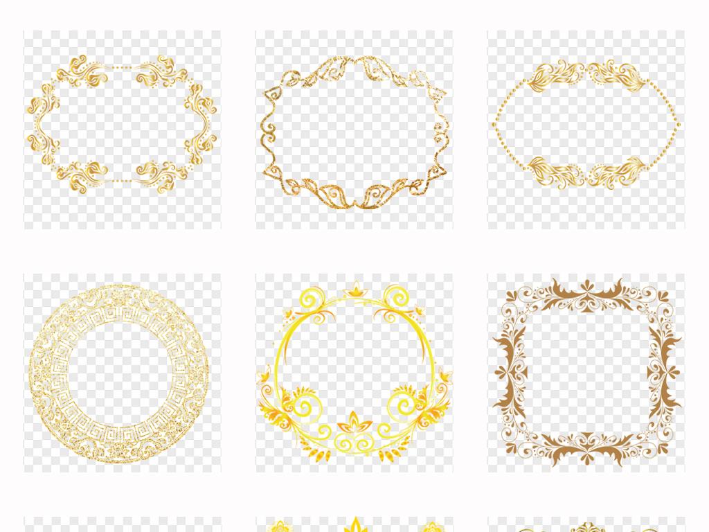 金色欧式边框古典欧式花纹边框png素材图片