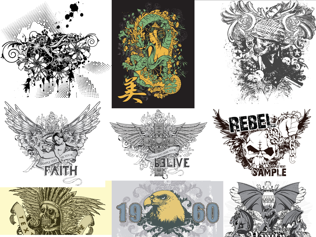 潮流t恤图案刺青纹身图腾黑白手绘插画波普