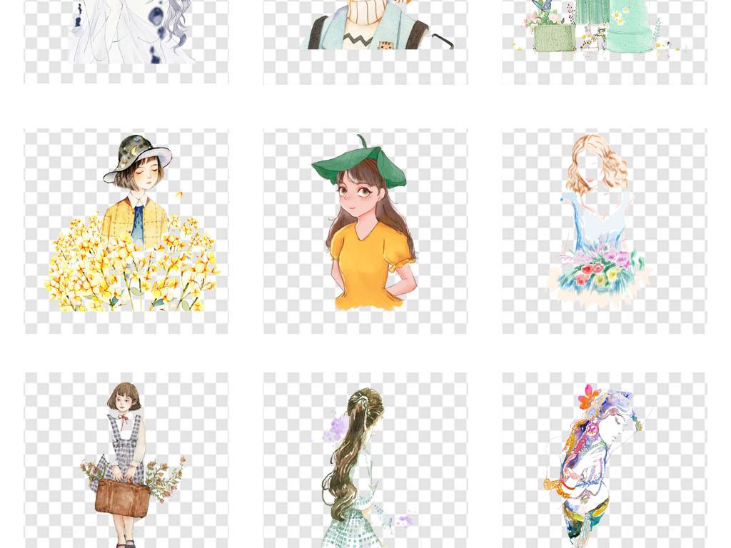 美术招生彩绘水彩女孩头像海报png素材