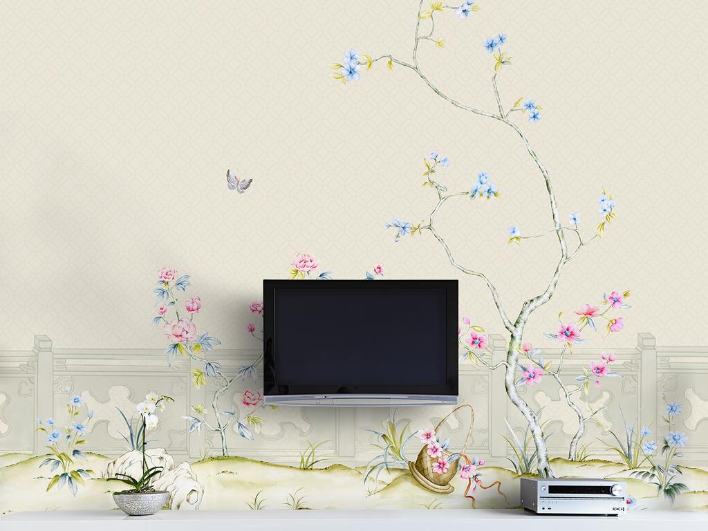新中式手绘水彩中国风花鸟蝴蝶庭院背景墙