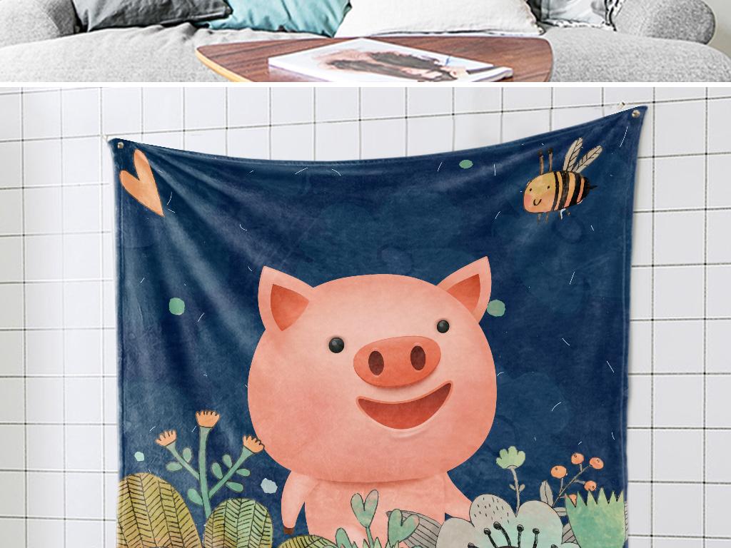 ins北欧手绘小清新鲜花小猪宝宝挂毯图案