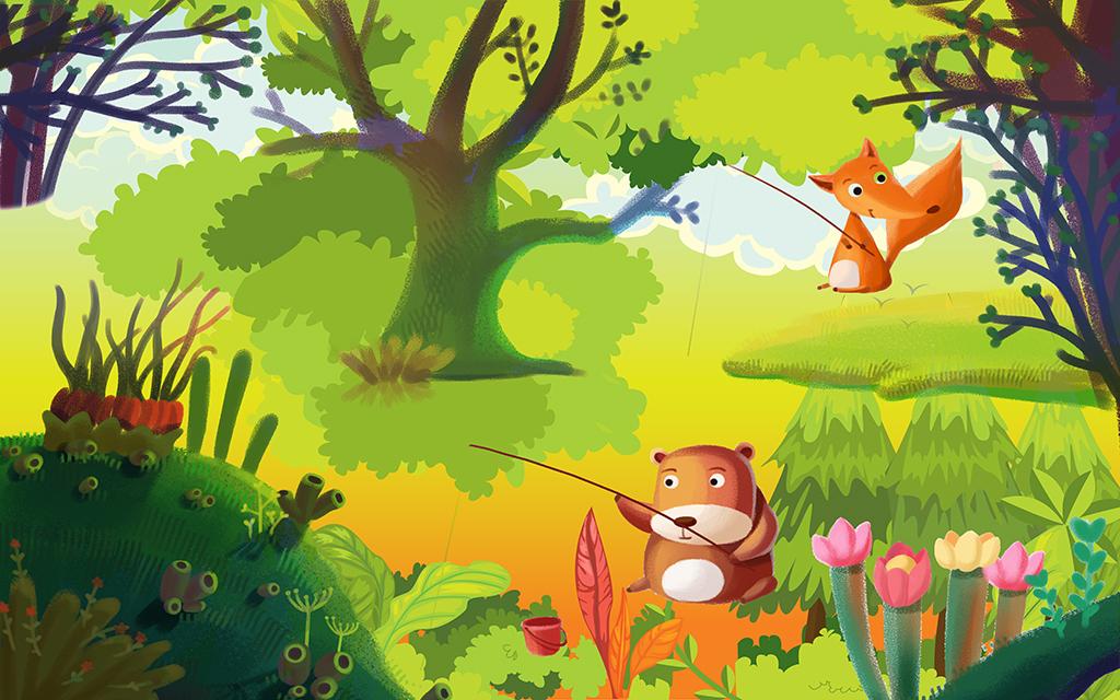 手绘卡通梦幻森林儿童房小动物背景墙