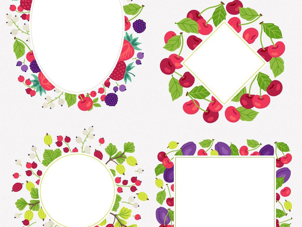 高清手绘超萌卡通水果边框水果图案背景素材