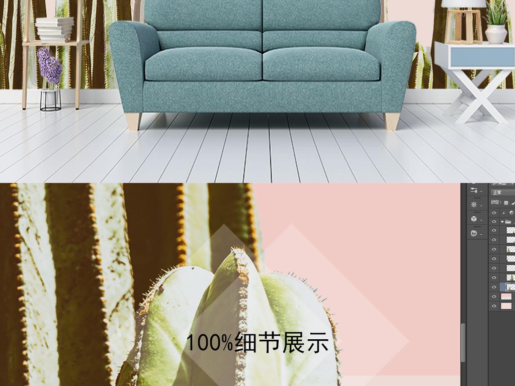 3D北欧ins风仙人掌客厅沙发背景墙图片设计素材 高清psd模板下载