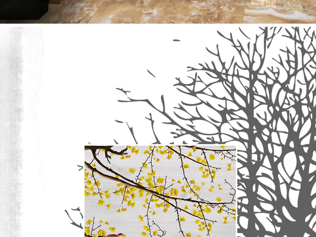 新中式手绘工笔花鸟银杏树徽派建筑玄关背景墙