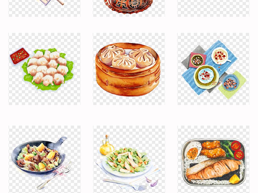 手绘水彩美食火锅美味食物菜品美食海报png素材