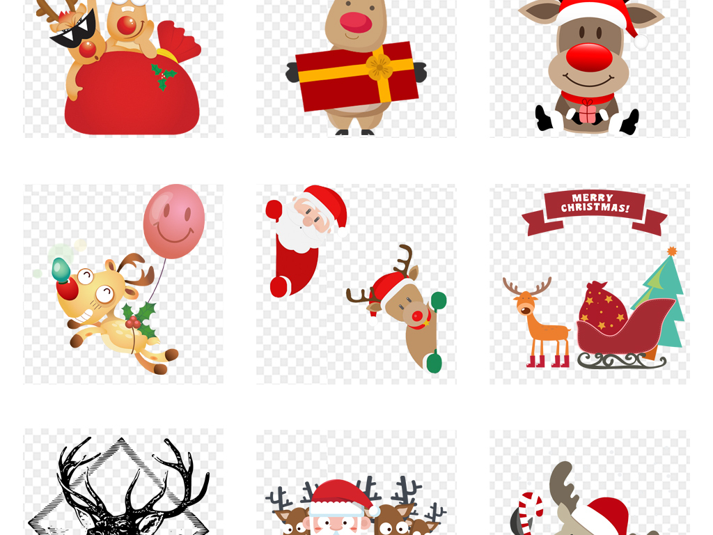 小鹿驯鹿卡通鹿圣诞鹿鹿头卡通小鹿卡通驯鹿创意手绘