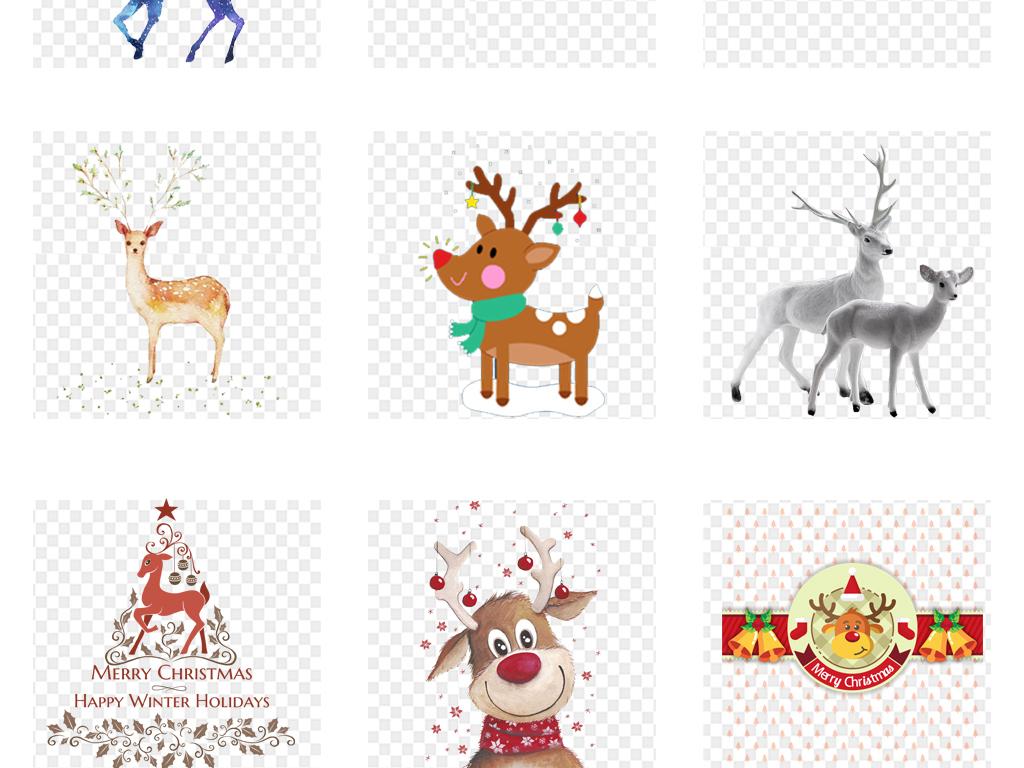 梦幻水彩小鹿水彩麋鹿手绘水彩麋鹿森林麋鹿素材水彩剪影森林鹿森林素