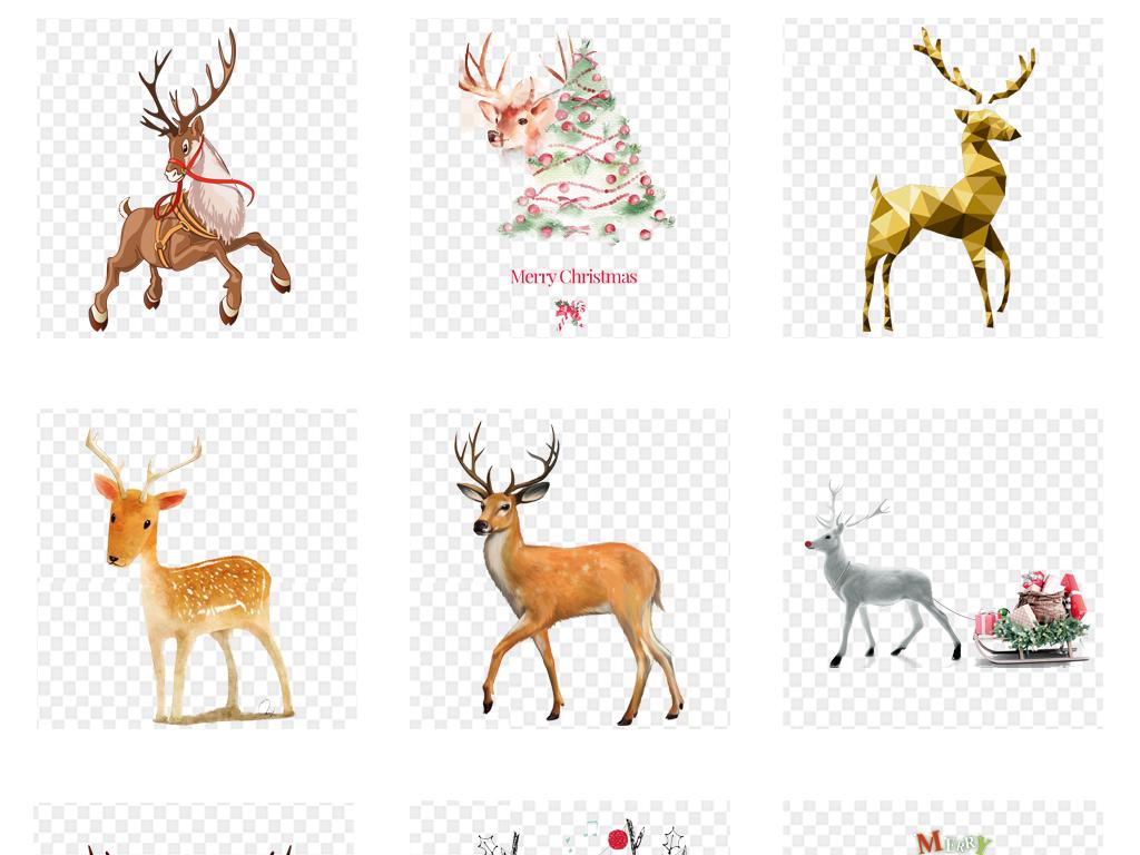 梦幻水彩小鹿水彩麋鹿手绘水彩麋鹿森林麋鹿素材水彩剪影森林鹿森林