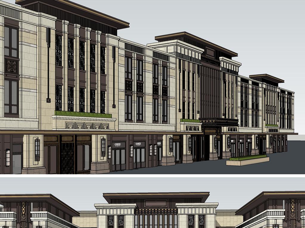 新亚洲建筑_模型库 su模型 建筑模型 > 精美现代新亚洲风格沿街商业立面商铺su