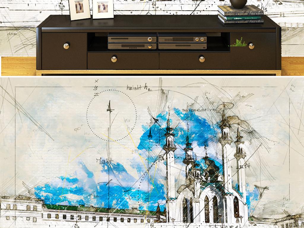 背景墙 电视背景墙 电视背景墙 > 手绘清真寺皇宫尖塔几何  素材图片
