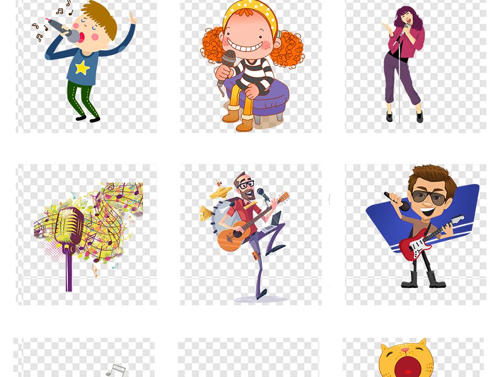 卡通手绘儿童唱歌音乐培训png透明素材