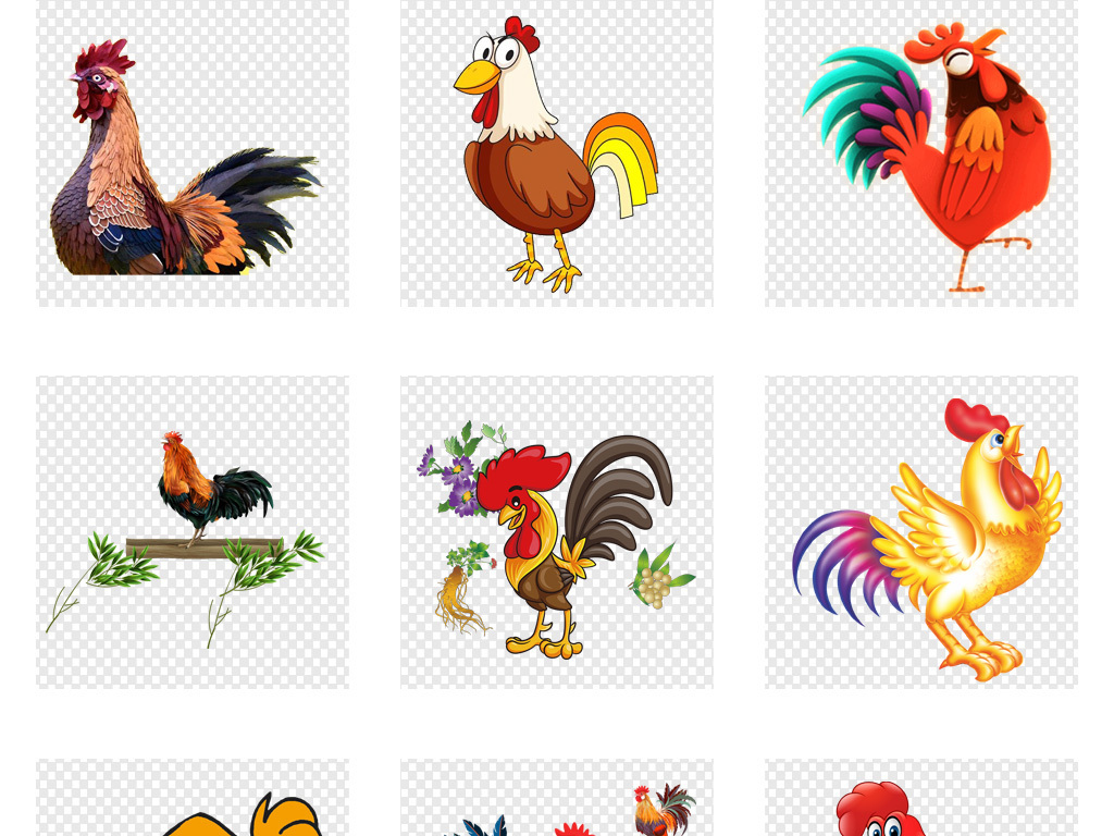 鸡年卡通手绘水彩可爱鸡海报png背景素材
