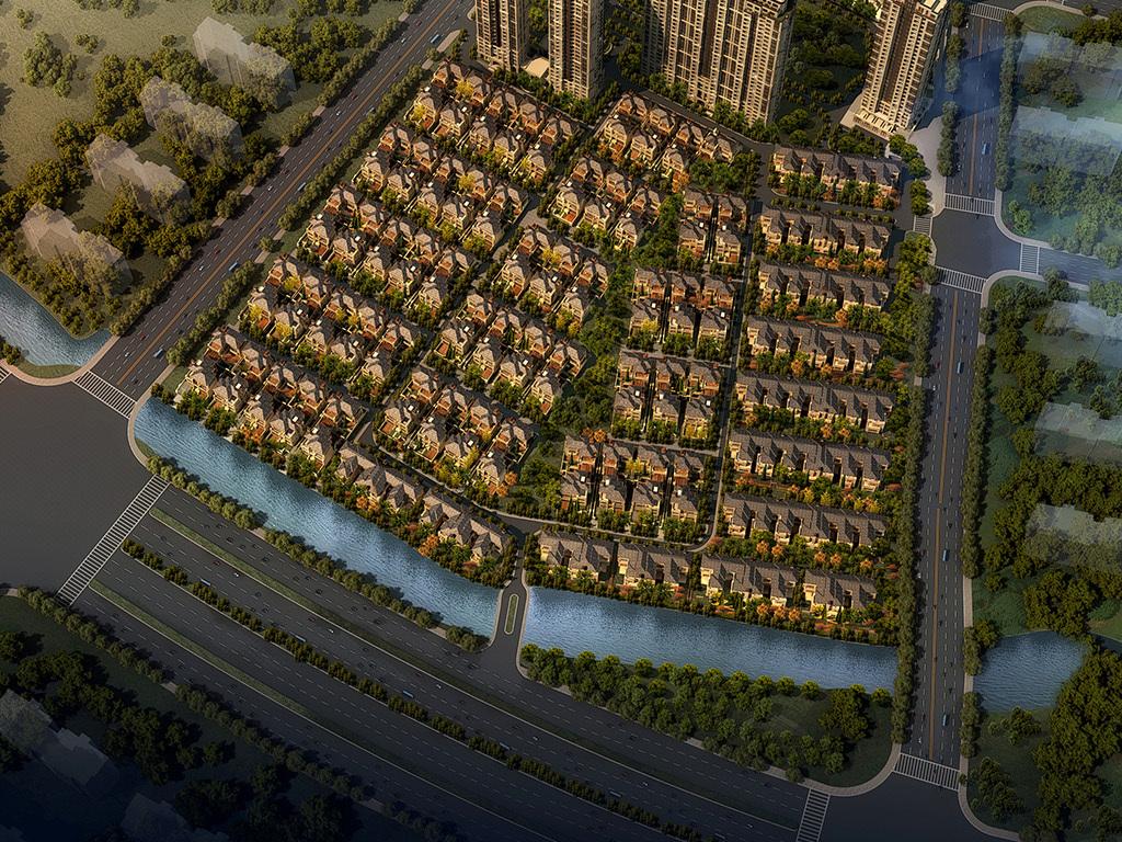 欧式独栋别墅新古典高层住宅小区建筑su模型