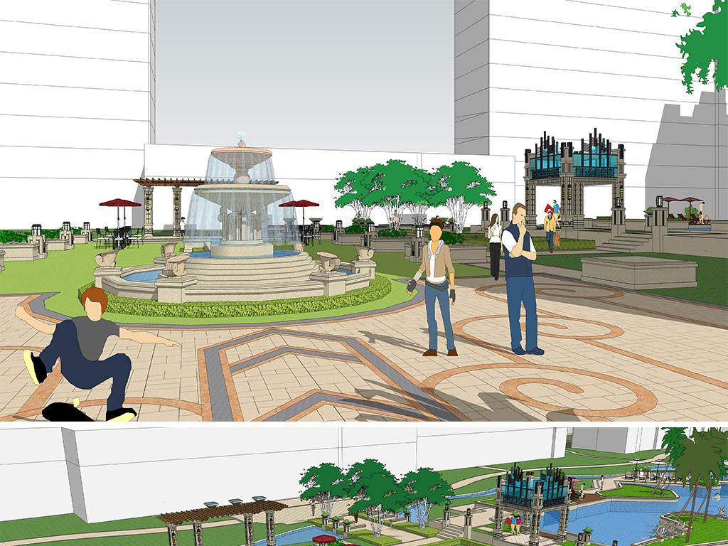 欧式新古典高层住宅小区园林景观设计su模型图片