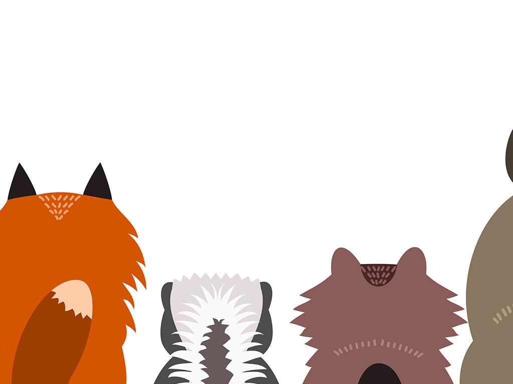 北欧手绘装饰画现代简约可爱动物无框装饰画