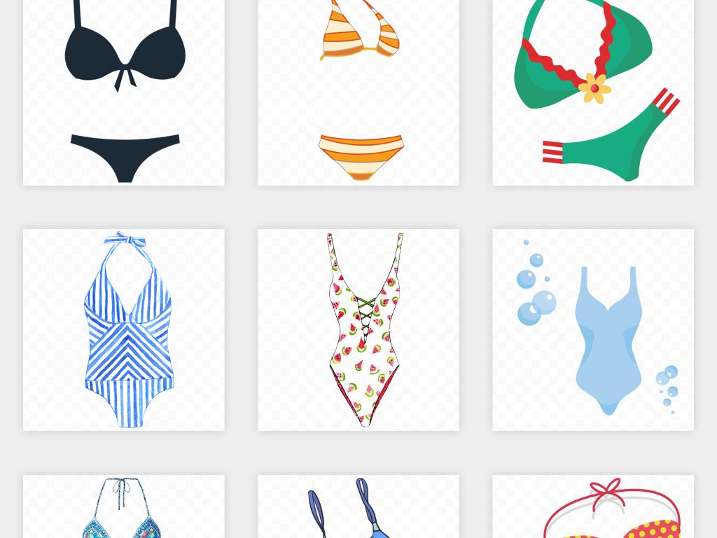 内衣美女沙滩卡通美女沙滩美女海边游泳游泳卡通海边素材卡通游泳夏季