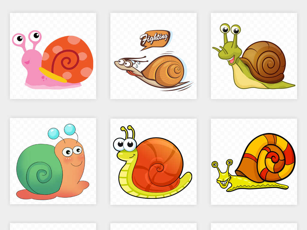 免抠元素 自然素材 动物 > 手绘卡通蜗牛简笔画幼儿园贴纸小报海报