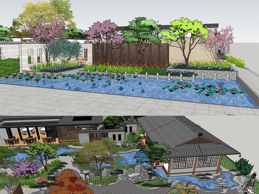 中式风格会所建筑日式庭院景观设计