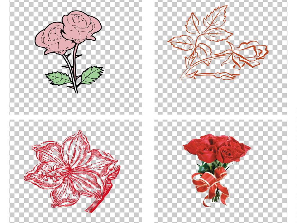 手绘玫瑰花花瓣七夕情人节png透明素材