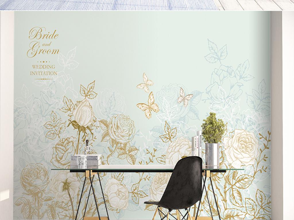 手绘北欧清新玫瑰花丛沙发电视背景墙