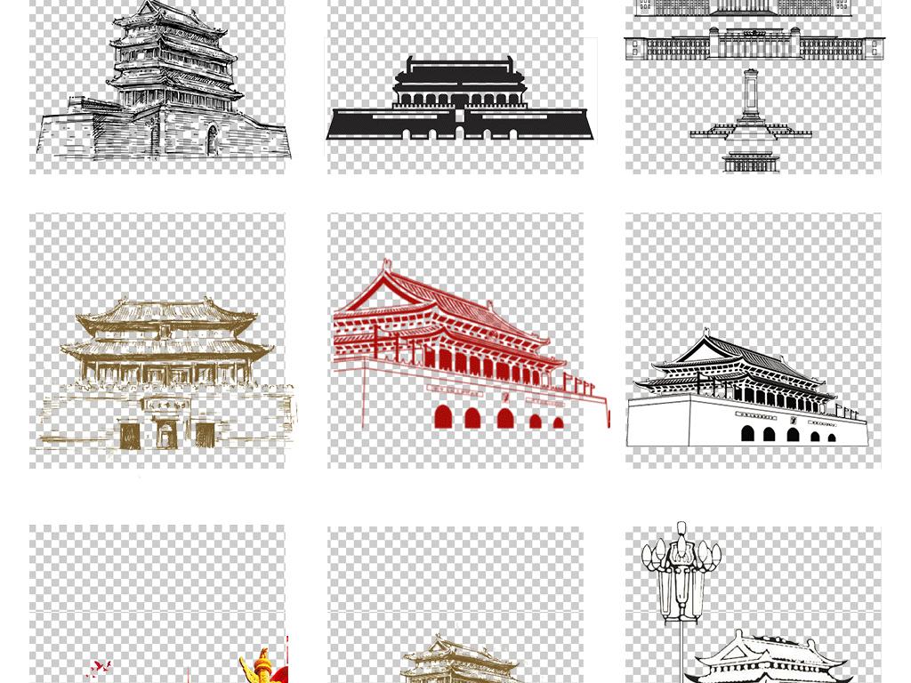 手绘天安门建军节建党节国庆北京天安门png素材