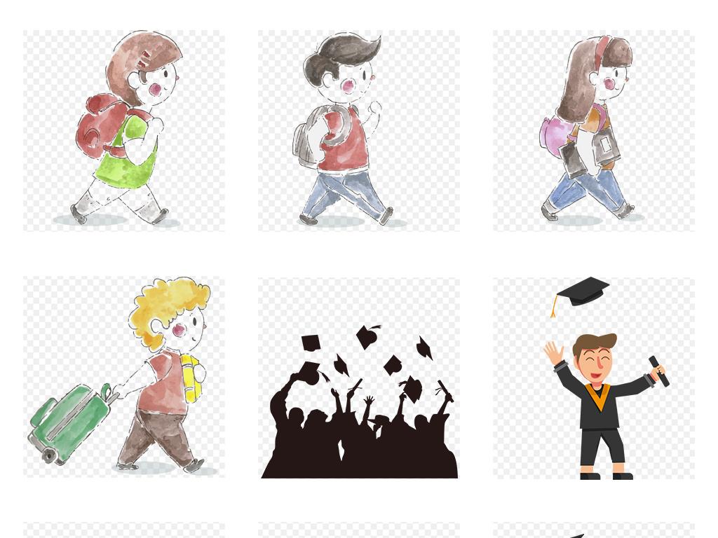 校车                                          校园儿童背书包上学