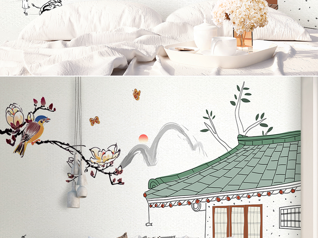 手绘现代中式花鸟建筑沙发电视背景墙