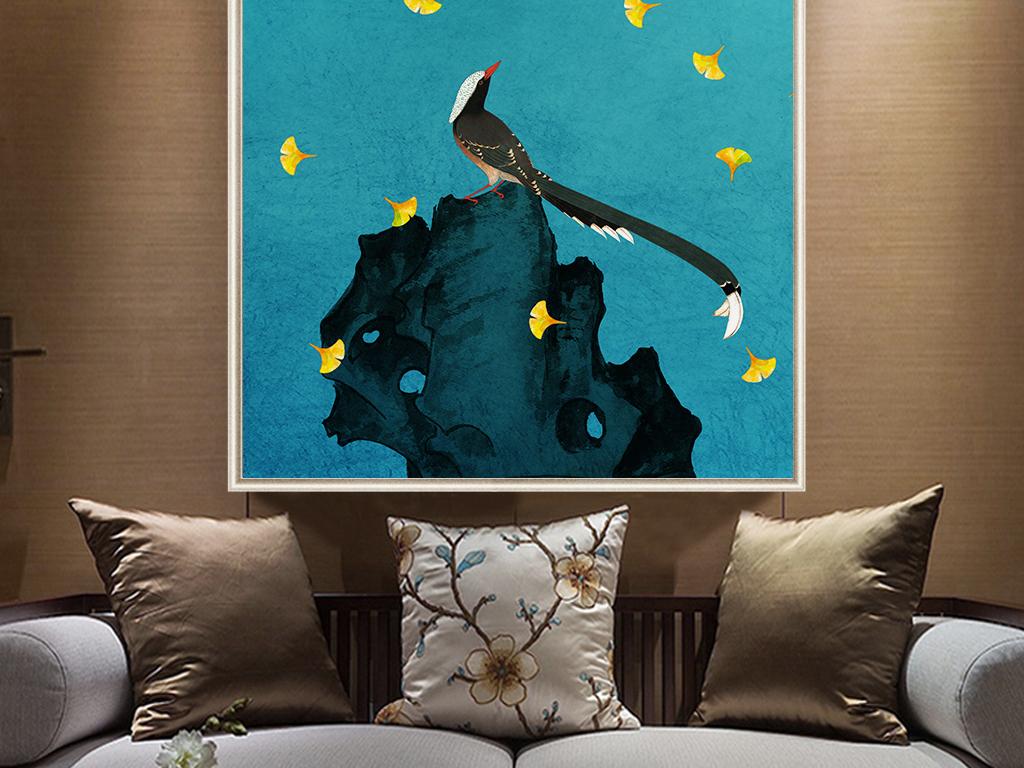 花鸟画现代简约花鸟                                  花鸟壁画手绘