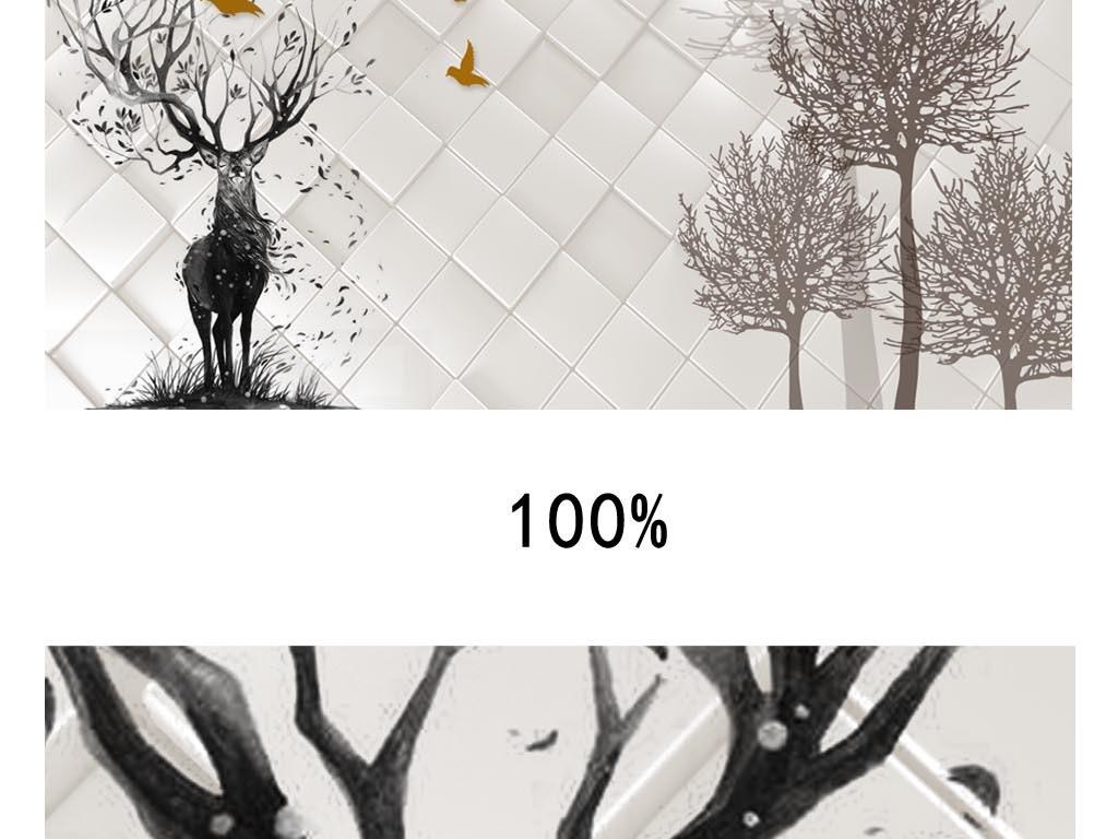 3d立体手绘树麋鹿背景墙图片设计素材_高清模板下载(.