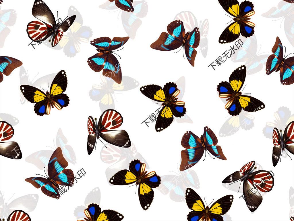 手绘蝴蝶彩蝶图案数码印花服装面料花型设计图片素材