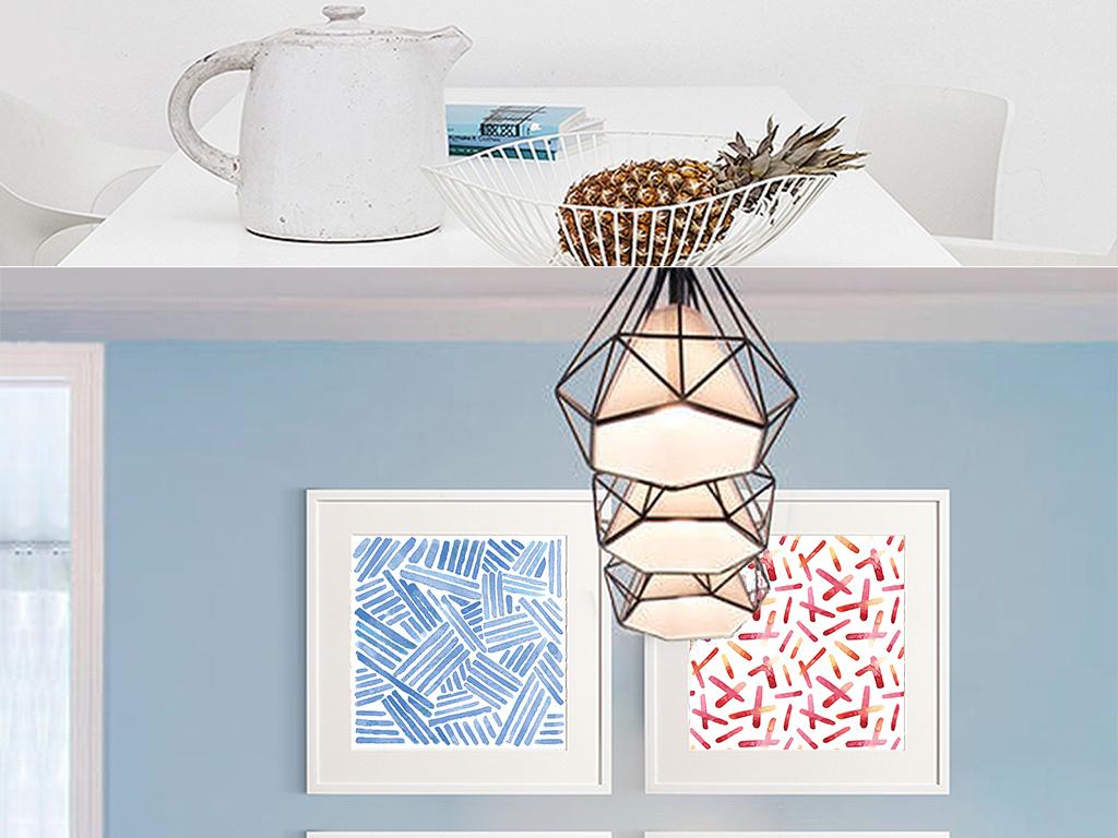 6款现代简约水彩手绘抽象蓝色线条几何装饰画