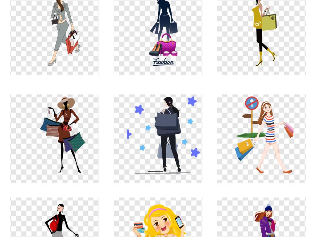 免抠元素 人物形象 动漫人物 > 商场女性购物人物剪影淘宝海报素材png图片