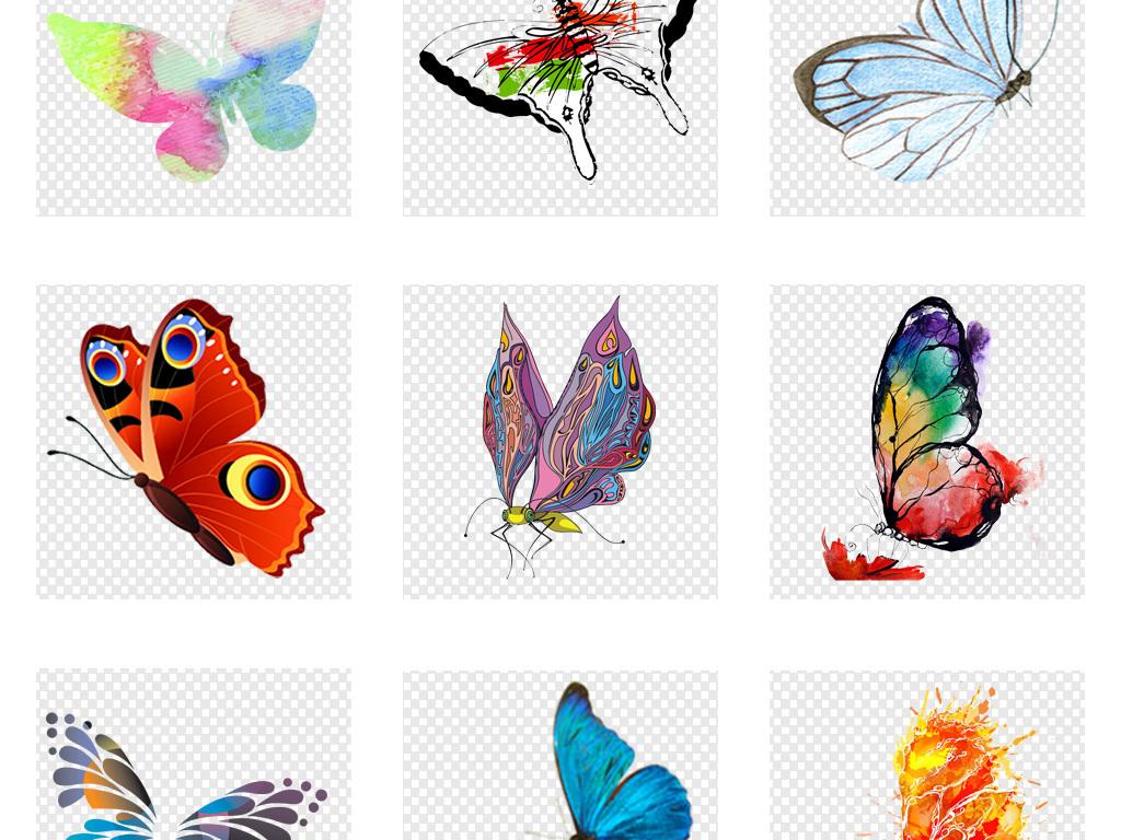 唯美手绘水彩蝴蝶png透明背景免扣素材
