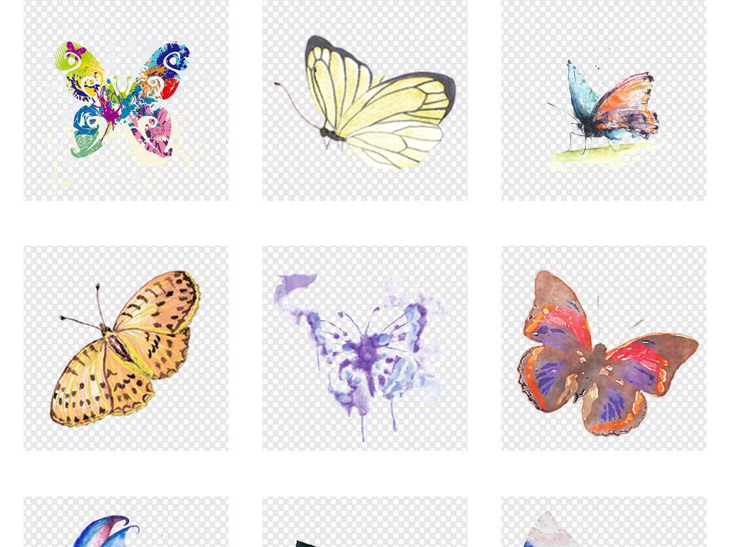 免抠元素 自然素材 动物 > 唯美手绘水彩蝴蝶png透明背景免扣素材